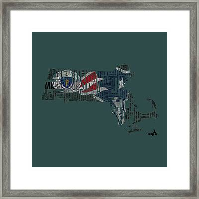 New England Patriots Typographic Map Framed Print by Brian Reaves