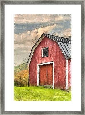 New England Red Barn Pencil Framed Print by Edward Fielding