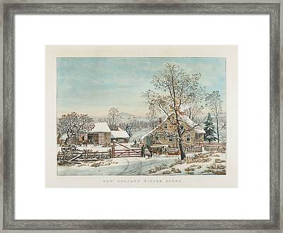 New England Winter Scene Framed Print by MotionAge Designs