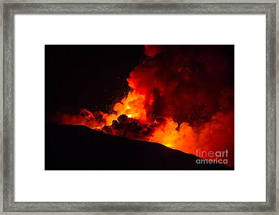 New Eruption Of Etna-2013 Framed Print by Unknow