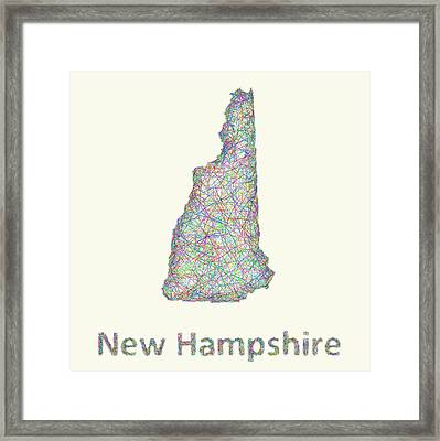 New Hampshire Line Art Map Framed Print by David Zydd