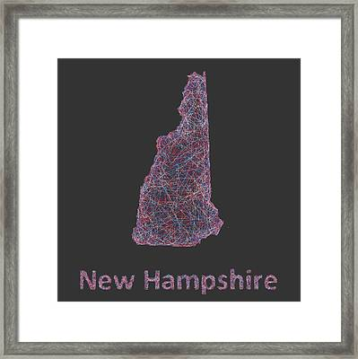 New Hampshire Map Framed Print by David Zydd