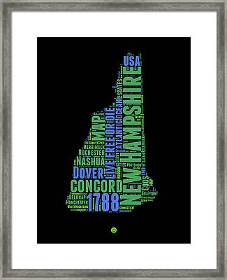 New Hampshire Word Cloud Map 1 Framed Print by Naxart Studio