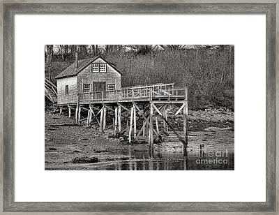 New Harbor Fishing Shack Framed Print by Olivier Le Queinec