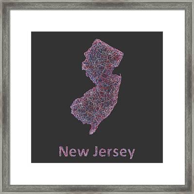 New Jersey Map Framed Print by David Zydd