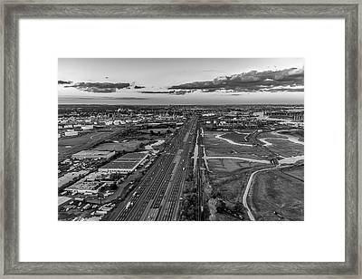 New Jersey Turnpike Aerial View Bw Framed Print by Susan Candelario