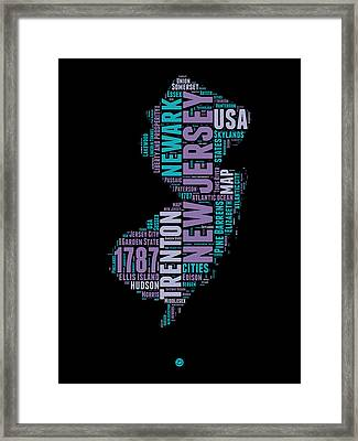 New Jersey Word Cloud 1 Framed Print by Naxart Studio