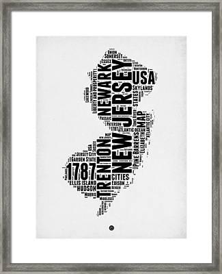 New Jersey Word Cloud 2 Framed Print by Naxart Studio