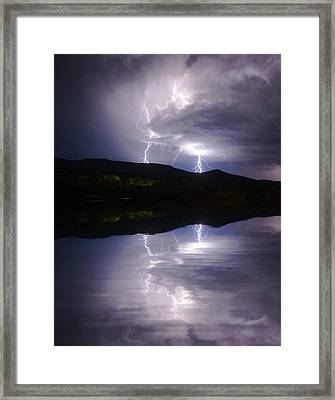 New Mexico Lightning Storm Framed Print by Jerry McElroy