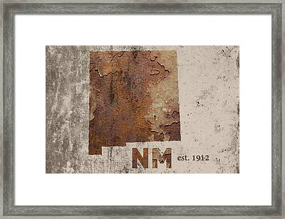 New Mexico State Map Industrial Rusted Metal On Cement Wall With Founding Date Series 047 Framed Print by Design Turnpike
