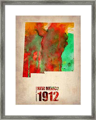 New Mexico Watercolor Map Framed Print by Naxart Studio