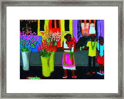 New Orleans Lady Selling Flowers Framed Print by Angela Annas
