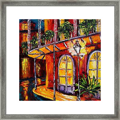 New Orleans Original Oil Painting French Quarter Glow Framed Print by Beata Sasik