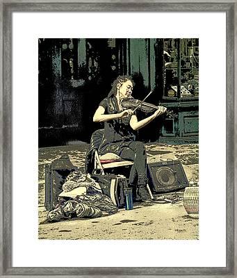 New Orleans Street Performer - Vagabond Virtuoso  Framed Print by Rebecca Korpita