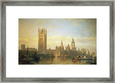 New Palace Of Westminster From The River Thames Framed Print by David Roberts