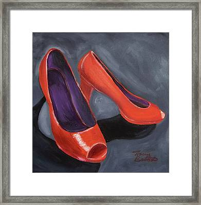 New Red Shoes Framed Print by Tracey Bautista