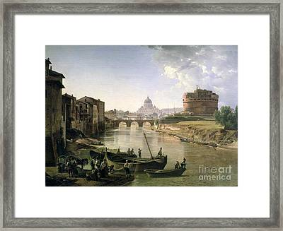 New Rome With The Castel Sant Angelo Framed Print by Silvestr Fedosievich Shchedrin