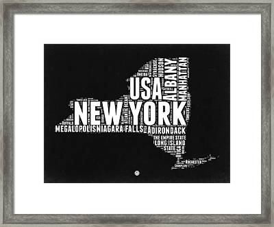 New York Black And White Word Cloud Map Framed Print by Naxart Studio