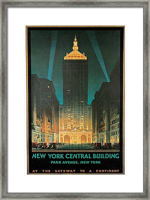 New York Central Building Framed Print by Chesley Bonestell