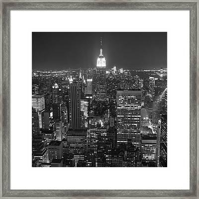 New York City At Night Framed Print by Adam Garelick