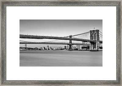 New York City Bridges Bmw Bw Framed Print by Susan Candelario