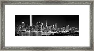 New York City Bw Tribute In Lights And Lower Manhattan At Night Black And White Nyc Framed Print by Jon Holiday