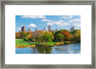 New York City Central Park Panorama View In Autumn With Manhattan Skyscrapers And Colorful Trees Ove Framed Print by Unknow