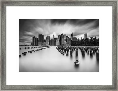 New York City In Black And White Framed Print by Rick Berk