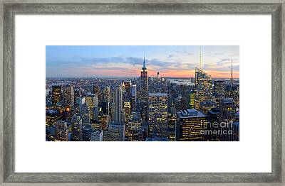 New York City Manhattan Empire State Building At Dusk Nyc Panorama Framed Print by Jon Holiday