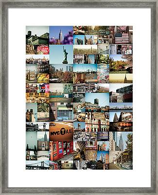 New York City Montage 2 Framed Print by Darren Martin