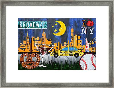 New York City Nyc The Big Apple License Plate Art Collage No 1 Framed Print by Design Turnpike