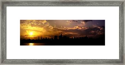 New York City Skyline At Sunset Panorama Framed Print by Vivienne Gucwa