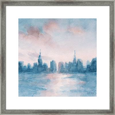 New York City Skyline Coral And Aqua Framed Print by Beverly Brown