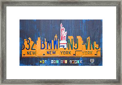 New York City Skyline License Plate Art Framed Print by Design Turnpike
