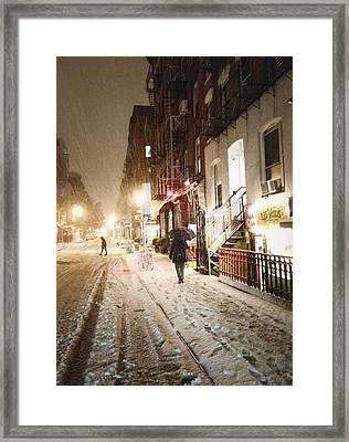 New York City - Snow - Night Framed Print by Vivienne Gucwa