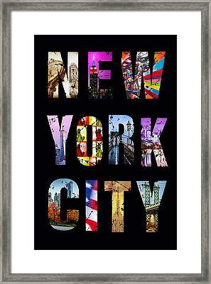 New York City Text 1 Framed Print by Az Jackson