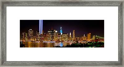 New York City Tribute In Lights And Lower Manhattan At Night Nyc Framed Print by Jon Holiday