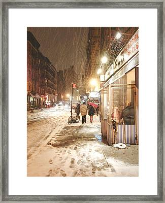 New York City - Winter Night - Snow In The City Framed Print by Vivienne Gucwa