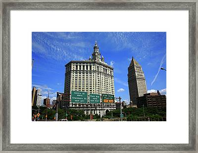 New York City With Local Traffic Signs Framed Print by Frank Romeo