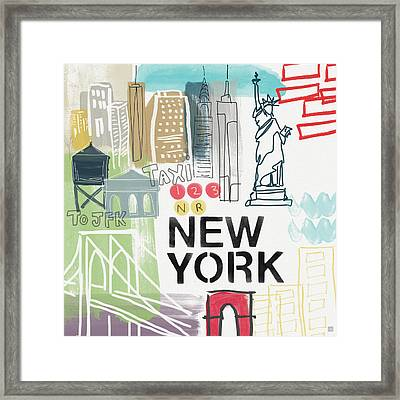 New York Cityscape- Art By Linda Woods Framed Print by Linda Woods