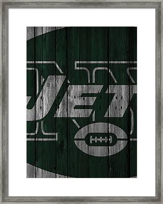 New York Jets Wood Fence Framed Print by Joe Hamilton