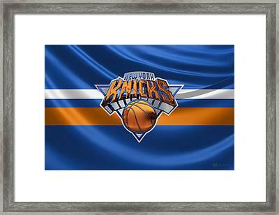 New York Knicks - 3 D Badge Over Flag Framed Print by Serge Averbukh