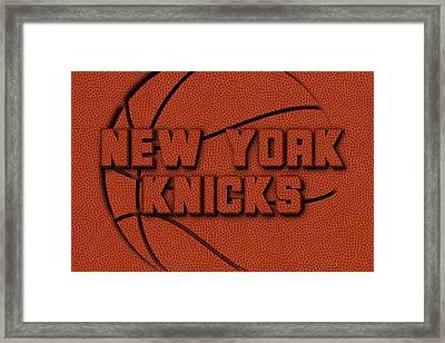 New York Knicks Leather Art Framed Print by Joe Hamilton