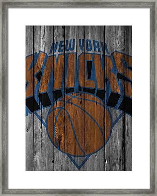 New York Knicks Wood Fence Framed Print by Joe Hamilton