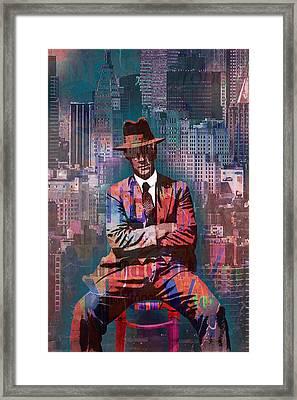 New York Man Seated City Background 2 Framed Print by Tony Rubino