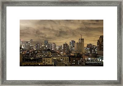New York Moody Evening Framed Print by Luther Fine Art