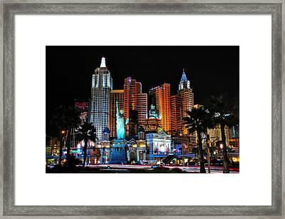 New York New York Hotel And Casino Framed Print by Eddie Yerkish