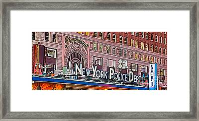 New York Police At Paramount Framed Print by Terry Weaver