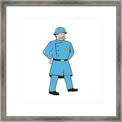 New York Policeman Vintage Standing Cartoon Framed Print by Aloysius Patrimonio