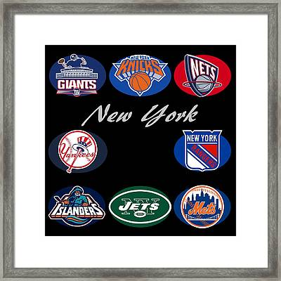 New York Professional Sport Teams Collage  Framed Print by Movie Poster Prints